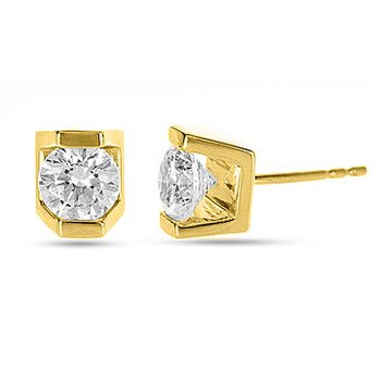 18K YG Diamond Incas Bar Set Solitaire Stud  Earring 0.60 cts