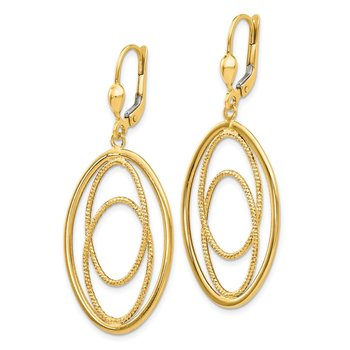 14K Gold Textured and Polished Dangle Leverback Earrings