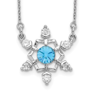 Sterling Silver RH-plated Crystal Snowflake w/2in ext Necklace
