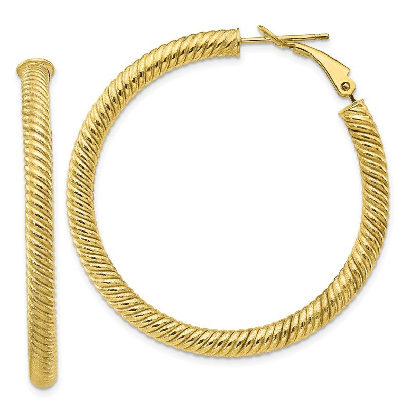 Quality Gold 10k 4x35 Twisted Round Omega Back Hoop Earrings