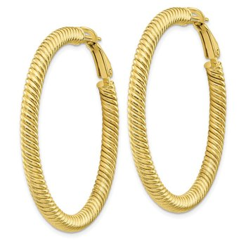 10k 4x35 Twisted Round Omega Back Hoop Earrings