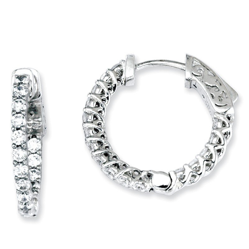 Quality Gold Sterling Silver CZ 32 Stones In and Out Round Hoop Earrings