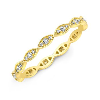 Yellow Gold Pave Marquise Stackable Band