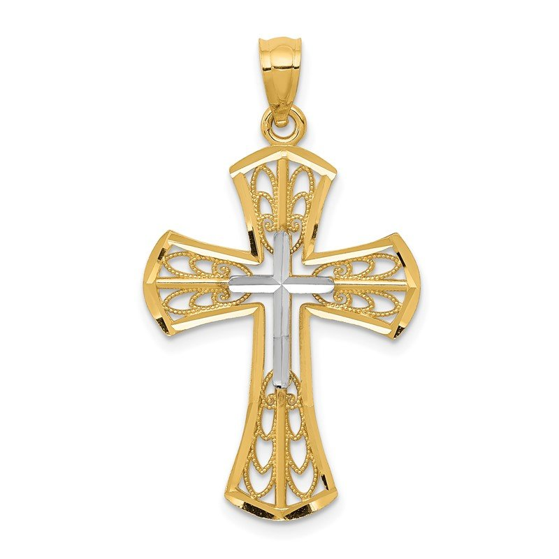 Quality Gold 14k w/Rhodium Polished D/C Filigree Cross Pendant