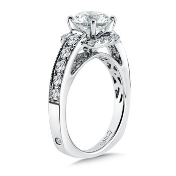 Inspired Vintage Collection Diamond Halo Engagement Ring with Side Stones in 14K White Gold with Platinum Head (1-1/2ct. tw.)