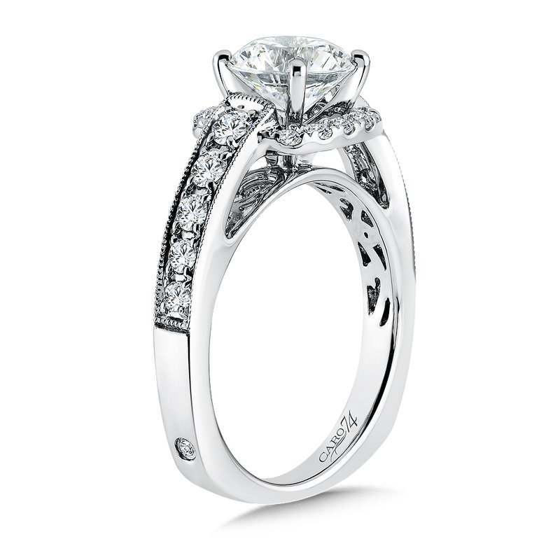 Caro74 Inspired Vintage Collection Diamond Halo Engagement Ring with Side Stones in 14K White Gold with Platinum Head (1-1/2ct. tw.)