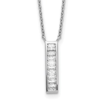 Sterling Silver Rhodium Plated CZ Vertical Bar Necklace