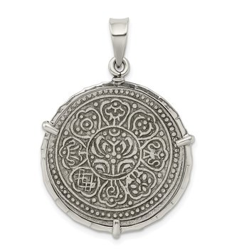 Sterling Silver & Silver Tibet Tanka Coin Pendant