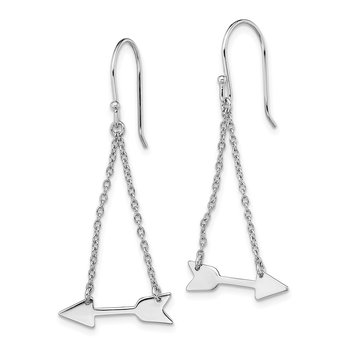 Sterling Silver Rhodium-plated Double Chain Arrow Dangle Earrings