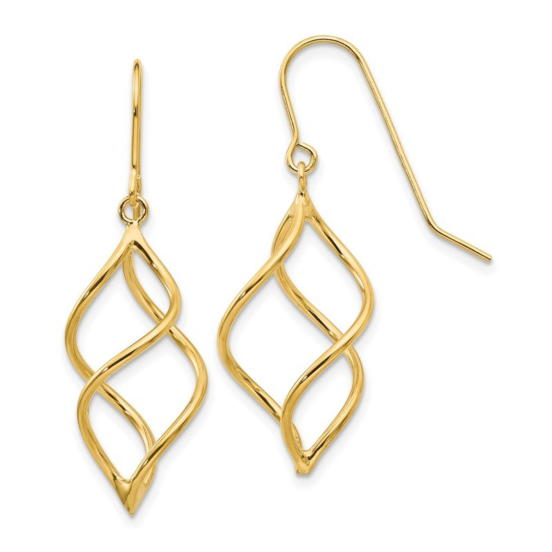 Quality Gold 14k Polished Short Twisted Dangle Earrings