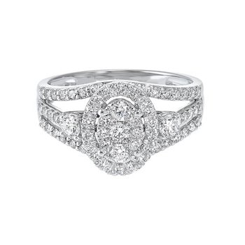 Diamond Vintage Split Bridal Ring Set in 14k White Gold (1ctw)