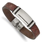 Chisel Stainless Steel Polished Brown Faux Leather w/ Black Rubber ID Bracelet