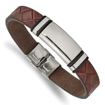 Stainless Steel Polished Brown Faux Leather w/ Black Rubber ID Bracelet