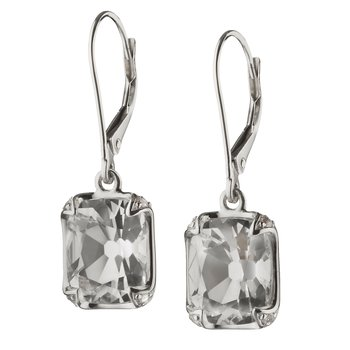 Cushion Bezel-Set Earrings in Silver
