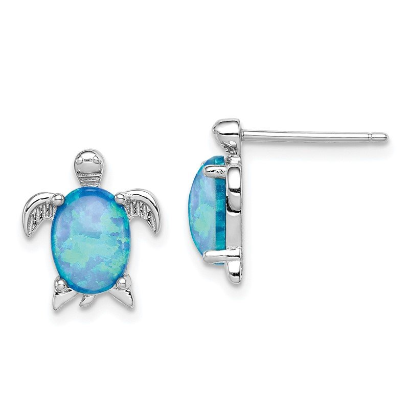 Quality Gold Sterling Silver Created Opal Turtle Post Earrings