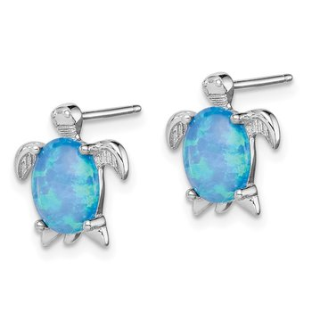 Sterling Silver Created Opal Turtle Post Earrings