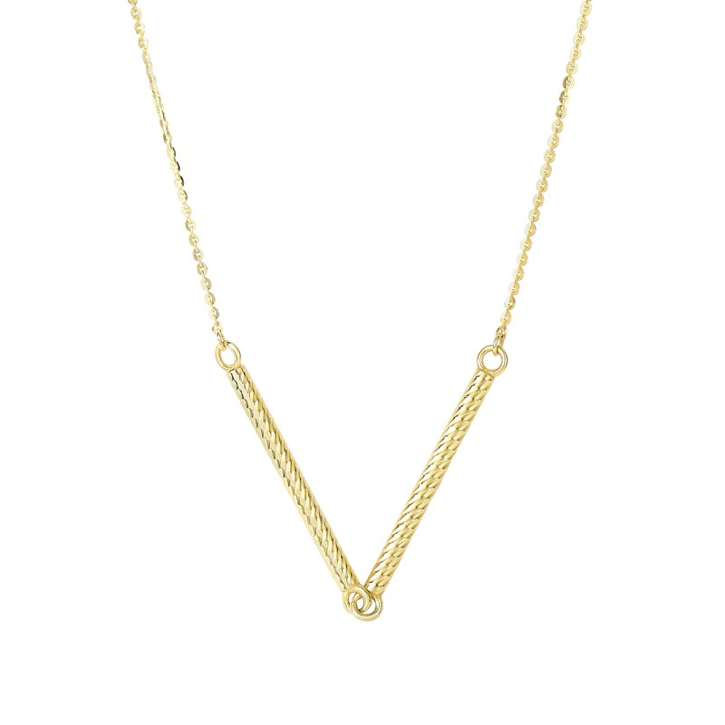 Royal Chain 14K Gold  V Necklace