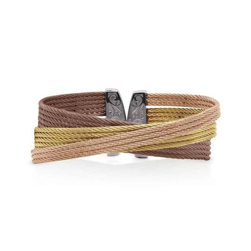 ALOR Yellow, Rose, & Bronze Cable Twist Cuff