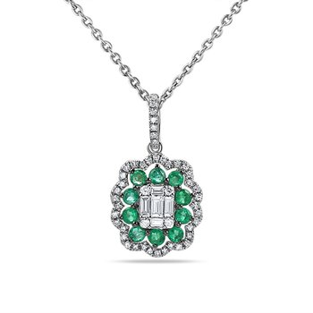 "14K PENDANT WITH 10 SAPPHIRES 0.47CT & 48 DIAMONDS 0.30CT 18"" CHAIN"