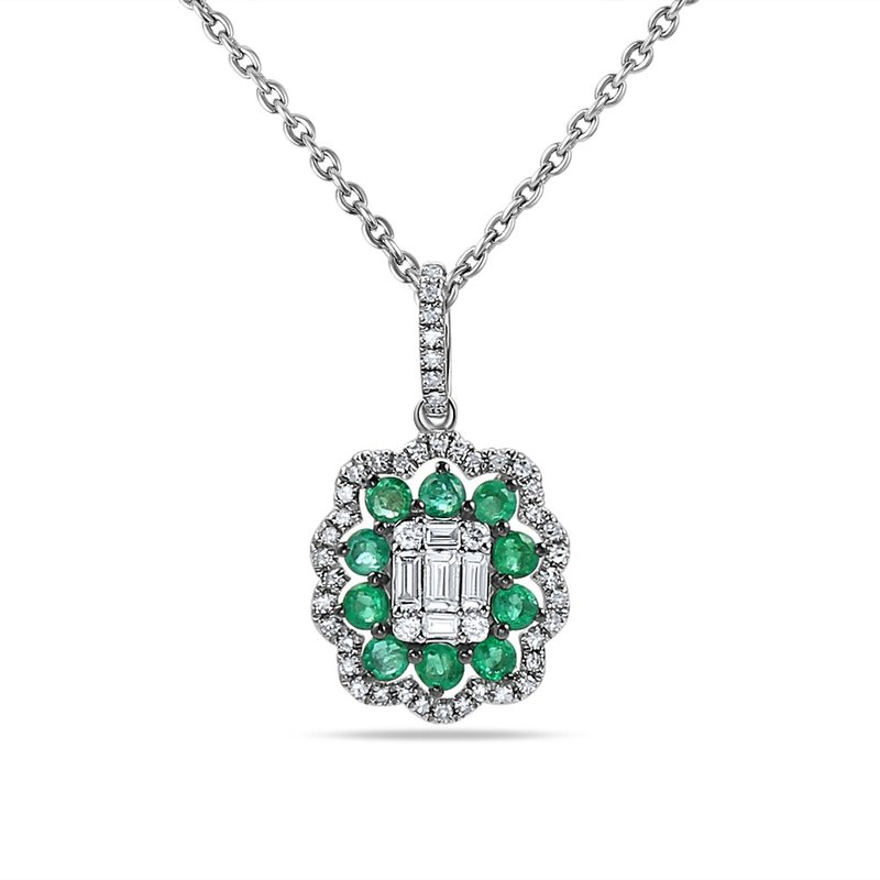 "Shula NY 14K PENDANT WITH 10 SAPPHIRES 0.47CT & 48 DIAMONDS 0.30CT 18"" CHAIN"