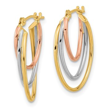 14k Tri-Color D/C Graduated 3 Ring Hoops