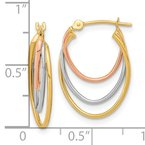 Quality Gold 14k Tri-Color D/C Graduated 3 Ring Hoops