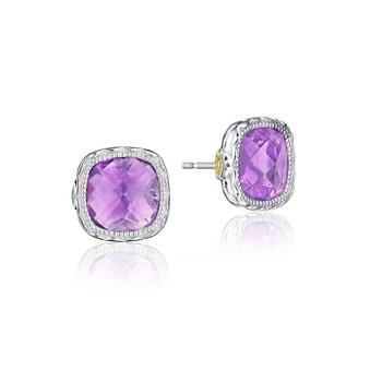 Cushion Gem Earrings with Amethyst