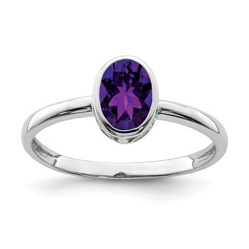 Sterling Silver Rhodium-plated Polished Amethyst Oval Ring