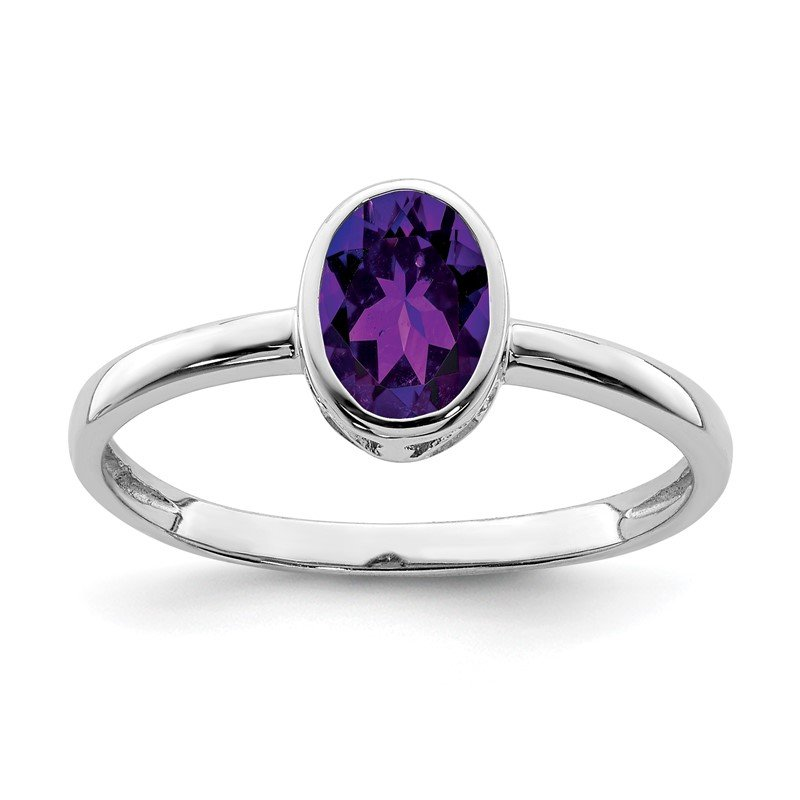 Quality Gold Sterling Silver Rhodium-plated Polished Amethyst Oval Ring