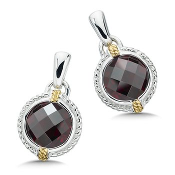 Sterling Silver, 18K Gold and Garnet Earrings