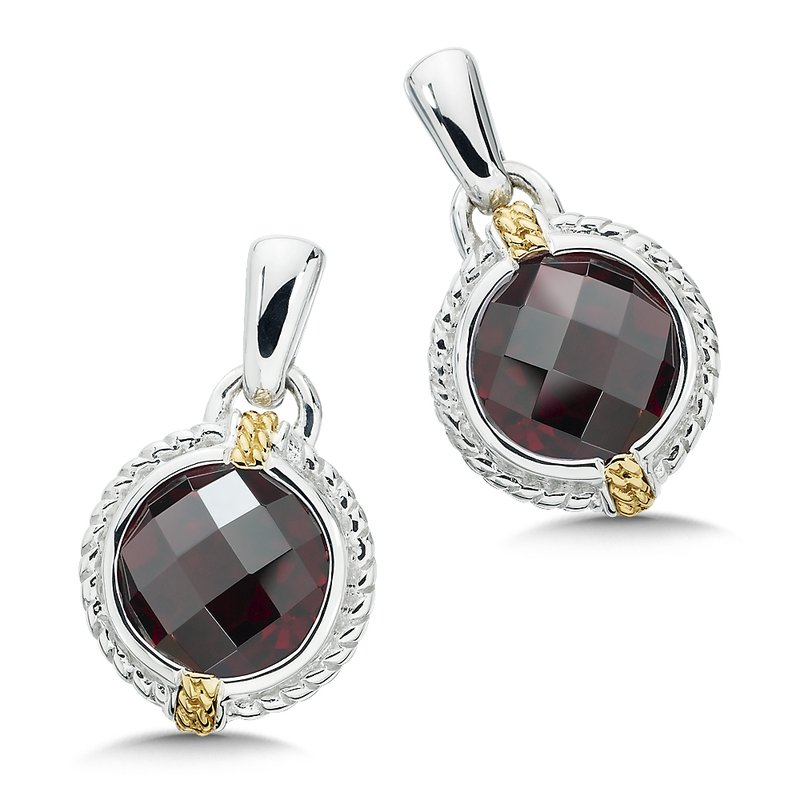 Colore Sg Sterling Silver, 18K Gold and Garnet Earrings