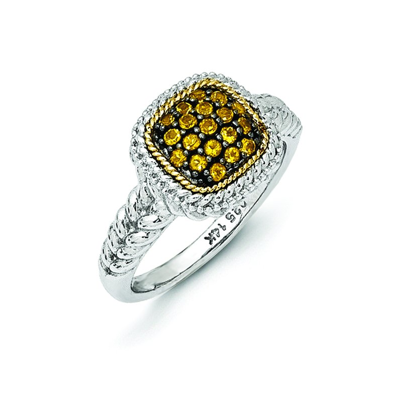 Shey Couture Sterling Silver w/14k and Black Rhodium Citrine Ring