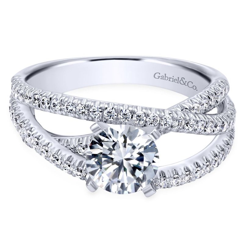 Gabriel & Co. New York 14K White Gold Round Free Form Diamond Engagement Ring