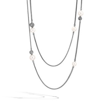 Classic Chain Long Necklace in Silver with Pearl