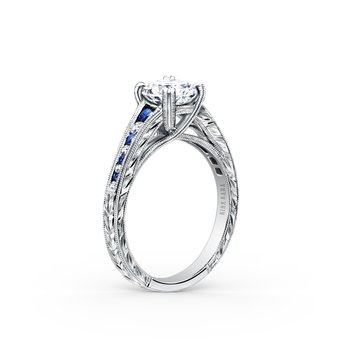 Channel Set Sapphire Diamond Engagement Ring