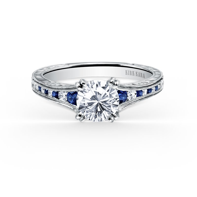 Kirk Kara Channel Set Sapphire Diamond Engagement Ring