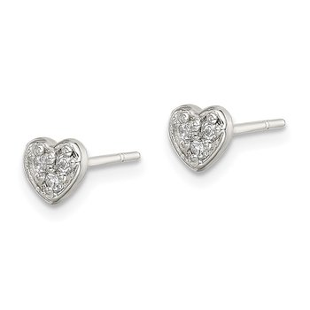 Sterling Silver Polished CZ Heart Post Earrings