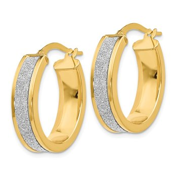 Leslie's 14K Yellow Gold Fancy Glimmer Infused Oval Hoop Earrings