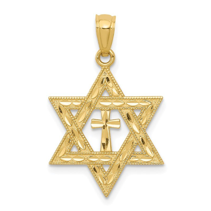 Quality Gold 14k Diamond-cut Star of David w/Cross Pendant