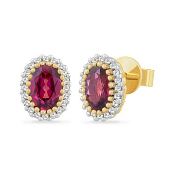 14K OVAL GARNET EARRINGS SURROUNDED BY 40 DIAMONDS 0.13CT