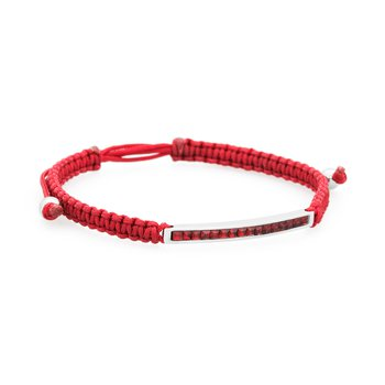 Bracelet. 316L stainless steel, red cotton macramé cord and siam red Swarovski® Elements crystals