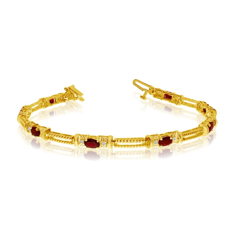 Color Merchants 10k Yellow Gold Natural Garnet And Diamond Tennis Bracelet
