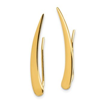 14k Gold Polished Pointed Ear Climber Earrings