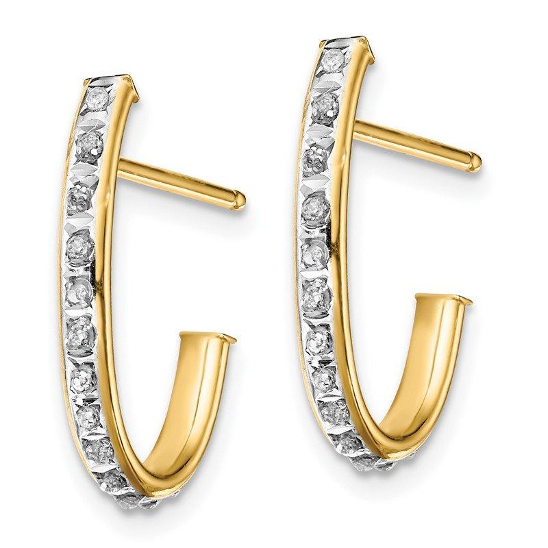 Quality Gold Sterling Silver Gold-plated Diamond Mystique Post Hoop Earrings
