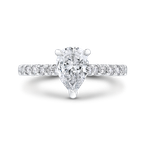 Carizza 14K White Gold Pear Diamond Engagement Ring (Semi-Mount)