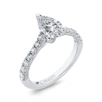 14K White Gold Pear Diamond Engagement Ring (Semi-Mount)