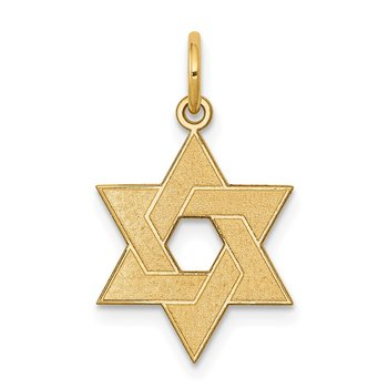14K Laser Designed Star of David Charm