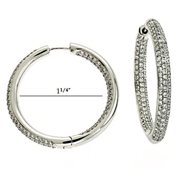 White Gold Huggie Earring Pave