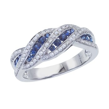14k White Gold Sapphire and .27 ct Diamond Fashion Ring