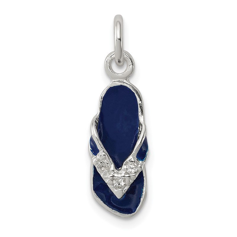 Quality Gold Sterling Silver CZ and Blue Enameled Flip Flop Charm